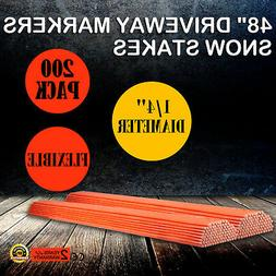 """200 Pack 48"""" Long Driveway Markers Snow Plow Stakes Poles To"""
