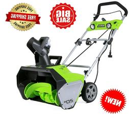 """Greenworks 2600202 20"""" Electric Corded Snowthrower, 13 Amp"""