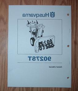 HUSQVARNA 9027ST SNOW BLOWER OWNERS MANUAL WITH PARTS LIST