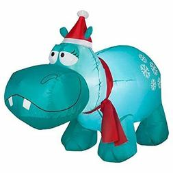 Holiday Time 4' Hippo with Snowflakes Lighted Airblown Infla