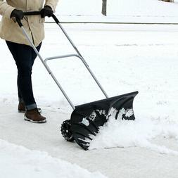 CASL Brands Adjustable Rolling 26-Inch Snow Pusher with 6-In