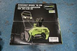 "GreenWorks Cordless 20"" Snow Thrower 26272 G MAX 4Ah 40V Bat"