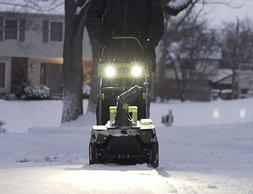 cordless electric snow thrower spotlights sidewalk driveway