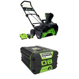 GreenWorks Pro 80V 20-Inch Cordless Snow Thrower, 2Ah Batter