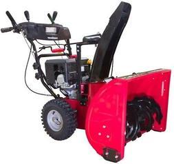 PowerSmart DB7124 2 Stage Gas Snow Blower, red, Black