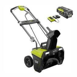 RYOBI Electric Snow Blower 20 in 40 Volt 5.0 Ah Battery Brus