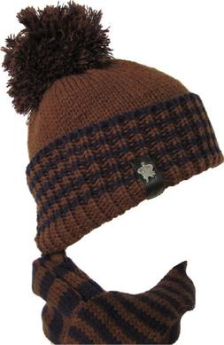 "Christys Crown ""Elkhorn"" Knit Cuff Cap with Detachable Scarf"