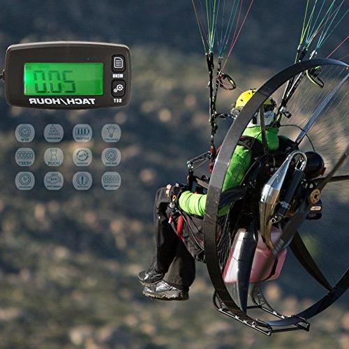 FOUNDOWN Engine Inductive Tachometer Backlit Digital Resettable Blower Ski