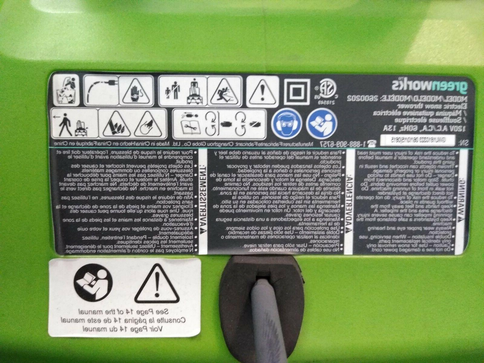 """NEW Green Works Electric Snow 20"""""""