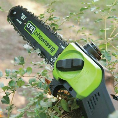 "GREENWORKS PRO PS80L210 10"" 80 2.0 Battery Cordless Polesaw"