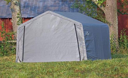 ShelterLogic 12' Shed-in-a-Box Metal Roof Outdoor Storage Cover and Heavy Reusable Anchors
