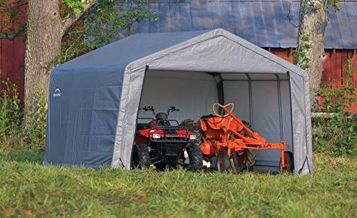 ShelterLogic 12' x Shed-in-a-Box Metal Storage with Waterproof Cover and Reusable Auger