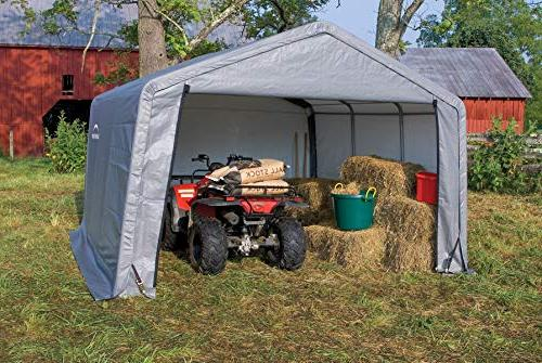 ShelterLogic 12' 12' Shed-in-a-Box Season Steel Metal Peak Roof Storage with Cover and Duty Reusable