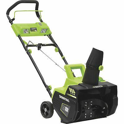 Earthwise SN74018 Electric 40-Volt Brushless 18-Inch Thrower, With LED