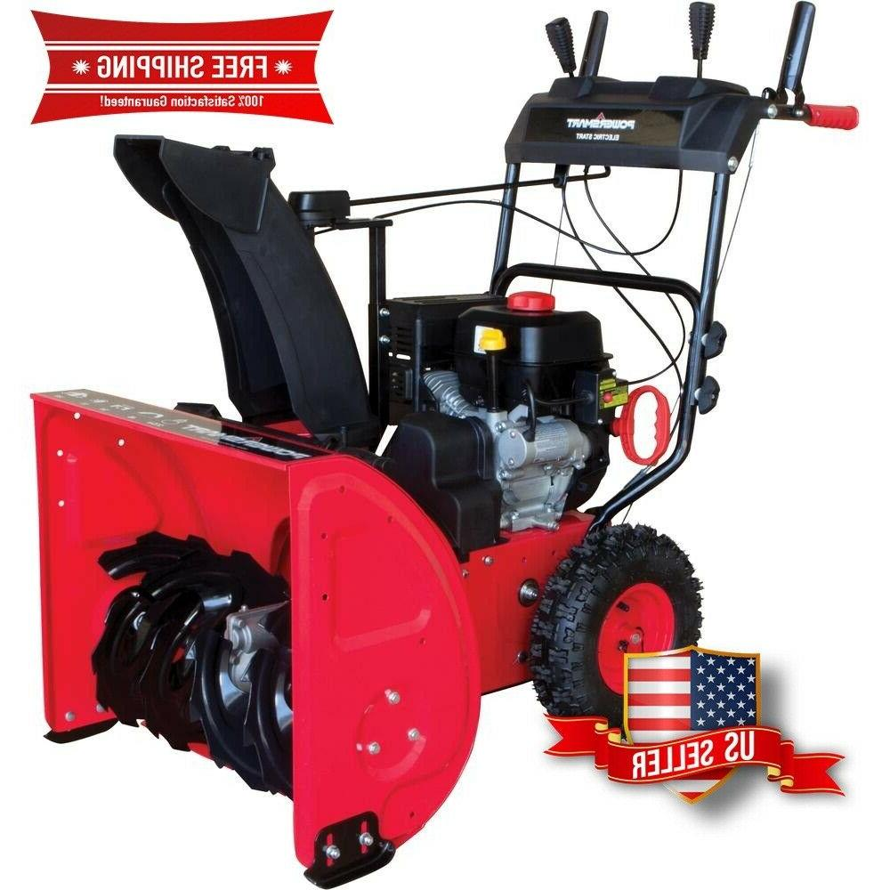 two stage electric start gas snow blower