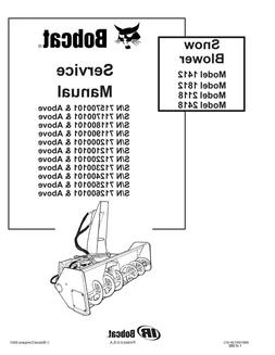 New Bobcat Snow Blower 1412, 1812, 2118, 2418 Repair Service