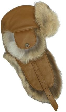 Harricana Recycled Coyote Fur & Leather Trooper Hat Deluxe A