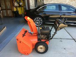 "snow blower Ariens 11528 gas powered 28"" w plow orange good"