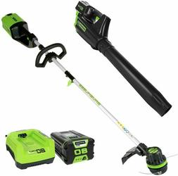 Cordless String Trimmer and Blower Combo 2Ah  GreenWorks Pro