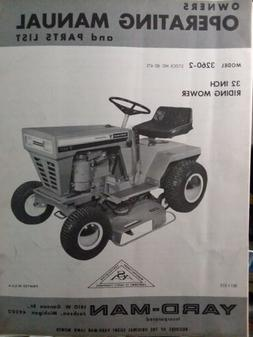 Yard Man 3260-2 Lawn Tractor, Snow Blower & Dozer Owner & Pa